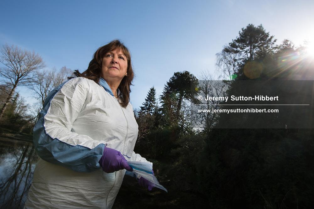 Professor Lorna Dawson, Head of Soil Forensic Science, at the James Hutton Institute, in Aberdeen, Scotland, 13 April 2015.