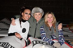 Pictured Rebecca Ferguson, Lisa Maxwell and Brooke Kinsella. Celebrities brave the cold and sleep under the stars at Exchange Square in aid the homeless charity Centrepoint's event 'Sleep Out'. Thursday, 7th November 2013. Picture by Ben Stevens / i-Images