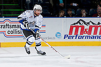 KELOWNA, CANADA - SEPTEMBER 28:  Brett Cote #27 of the Victoria Royals skates on the ice with the puck at the Kelowna Rockets on September 28, 2013 at Prospera Place in Kelowna, British Columbia, Canada (Photo by Marissa Baecker/Shoot the Breeze) *** Local Caption ***