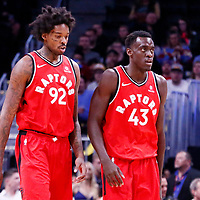 01 November 2017: Toronto Raptors center Lucas Nogueira (92) is seen next to Toronto Raptors forward Pascal Siakam (43) during the Denver Nuggets 129-111 victory over the Toronto Raptors, at the Pepsi Center, Denver, Colorado, USA.