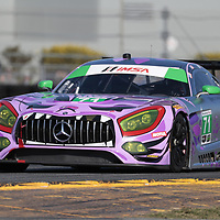 January 06, 2018 - Daytona Beach, Florida, USA:  The P1 Motorsports/ Sonic Tools Mercedes-AMG GT3 America races through the turns at the Roar Before The Rolex 24 at Daytona International Speedway in Daytona Beach, Florida.