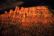 Cocks Comb Rock from a hot air ballon, Coconino National Forest Lands.