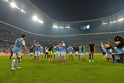 02.06.2015, Allianz Arena, Muenchen, GER, 2. FBL, TSV 1860 Muenchen vs Holstein Kiel, Relegation, Rückspiel, im Bild Jubel beim TSV 1860 Muenchen ueber den Sieg und den Klassenerhalt in der 2. Bundesliga // during the German 2nd Bundesliga relegation 2nd Leg Match between TSV 1860 Munich vs Holstein Kiel at the Allianz Arena in Muenchen, Germany on 2015/06/02. EXPA Pictures © 2015, PhotoCredit: EXPA/ Eibner-Pressefoto/ Hiermayer<br /> <br /> *****ATTENTION - OUT of GER*****