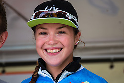Podium with Lucy Garner of Team Liv-Plantur after the finish at the Holland Ladies Tour, 's-Heerenberg, Gelderland, The Netherlands, 1 September 2015.<br /> Photo: Pim Nijland / PelotonPhotos.com