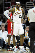 Apr 27, 2010; Cleveland, OH, USA; Cleveland Cavaliers forward LeBron James (23) reacts to being called for a foul during the first period in game five against the Chicago Bulls in the first round of the 2010 NBA playoffs at Quicken Loans Arena.  Mandatory Credit: Jason Miller-US PRESSWIRE