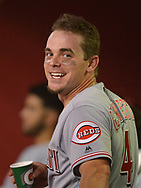 PHOENIX, AZ - JULY 08:  Scooter Gennett #4 of the Cincinnati Reds smiles in the dugout after hitting a solo home run against the Arizona Diamondbacks during the fifth inning at Chase Field on July 8, 2017 in Phoenix, Arizona.  (Photo by Jennifer Stewart/Getty Images)