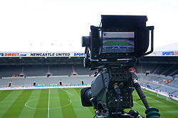 NEWCASTLE-UPON-TYNE, ENGLAND - Saturday, May 4, 2019: A television camera films a general view of Newcastle United's St James' Park ahead of the FA Premier League match between Newcastle United FC and Liverpool FC. (Pic by David Rawcliffe/Propaganda)