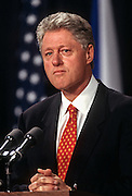 US President Bill Clinton answers reporters questions on the Monica Lewinsky scandal September 16, 1998 at the briefing room of the White House in Washington, DC after independent prosecutor Kenneth Starr submitted his report to Congress.
