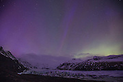 Aurora Borealis, northern lights, Skaftafell, Iceland, March 27, 2015, Kp 9, the Svínafellsjökull glacier tongue