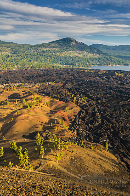 Overlooking the Painted Dunes and Fantastic Lava Beds toward Snag Lake, from the Cinder Cone, Lassen Volcanic National Park, California