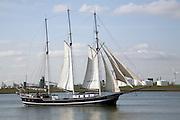 Sailing ship, Nieuwe Waterweg, ship canal between Maasluis and Hook of Holland, Netherlands