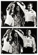 Bob Marley with Micheal Manley and Eddie Seaga at Peace Concert