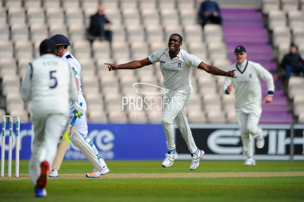 Warwickshires Keith Barker celebrates taking his third wicket of the morning by dismissing Hampshire batsman Will Smith during the Specsavers County Champ Div 1 match between Hampshire County Cricket Club and Warwickshire County Cricket Club at the Ageas Bowl, Southampton, United Kingdom on 10 April 2016. Photo by Graham Hunt.