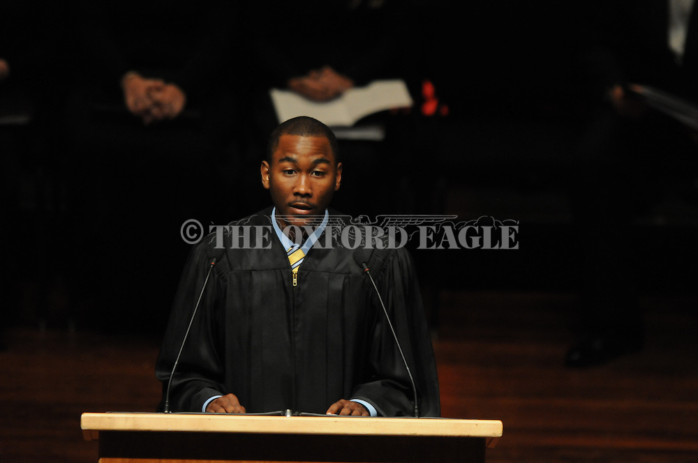 Associated Student Body President Artair Rogers, speaks at University of Mississippi Chancellor Dan Jones inauguration ceremony to the Gertrude Ford Center on Friday, April 9, 2010 in Oxford, Miss. Jones is the 16th chancellor in the university's history.