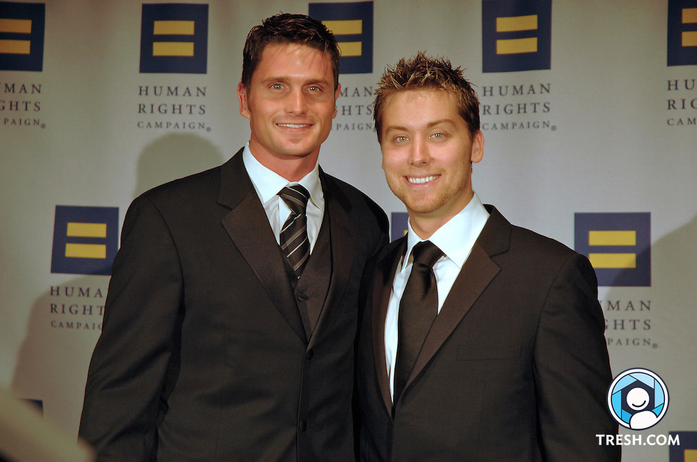 Reichen Lehmkuhl and Lance Bass before the Tenth Annual HRC National Dinner