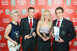 CARDIFF, WALES - Monday, October 8, 2012: Wales' Women's Player of the Year Jessica Fishlock, Young Player of the Year Adam Matthews, Women's Young Player of the Year Nadia Lawrence and Senior Player of the Year Joe Allen during the FAW Player of the Year Awards Dinner at the National Museum Cardiff. (Pic by David Rawcliffe/Propaganda)