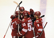 May 13, 2012; Glendale, AZ, USA; Phoenix Coyotes celebrate after defenseman Derek Morris (53) scores in the first period of game one of the Western Conference finals of the 2012 Stanley Cup Playoffs at Jobing.com Arena.  Mandatory Credit: Jennifer Stewart-US PRESSWIRE.