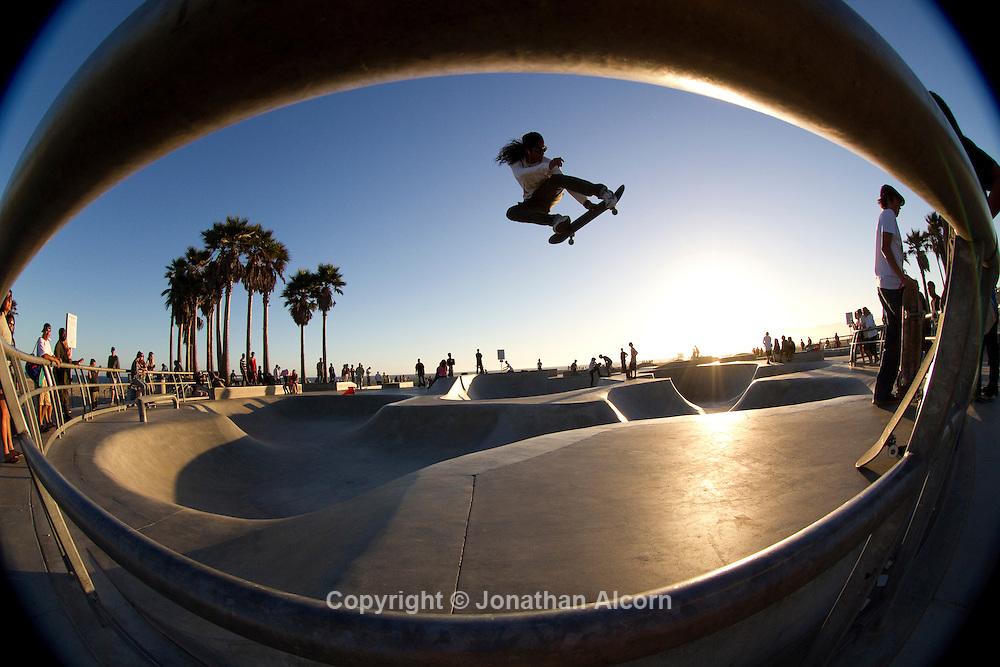 Venice Beach photographed with a fisheye lens..photo by Jonathan Alcorn.