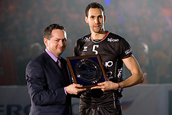 Osmany Portuondo Juantorena of Trentino at final ceremony after the  final match of CEV Indesit Champions League FINAL FOUR tournament between Dinamo Moscow, RUS and Trentino BetClic, ITA on May 2, 2010, at Arena Atlas, Lodz, Poland. Trentino defeated Dinamo 3-0 and became Winner of the Champions League. (Photo by Vid Ponikvar / Sportida)