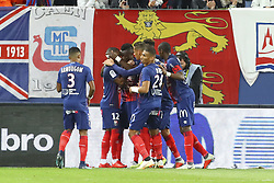 September 29, 2018 - Caen, France - Joie Casimir Ninga ( Caen ) / Claudio Beauvue (Caen) et equipe (Credit Image: © Panoramic via ZUMA Press)