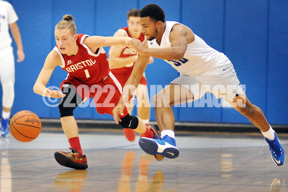 Bristol's Carter Kelley (1) and Bensalem's Nadir Smith (30) chase after a loose ball in the second quarter Tuesday December 27, 2016 at Bensalem High School in Bensalem, Pennsylvania. (Photo by William Thomas Cain)