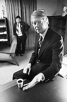 February 1976, New Hampshire, USA --- Jimmy Carter rests on a desk during his campaign for the Democratic nomination for president in 1976. New Hampshire, USA. --- Image by © Owen Franken