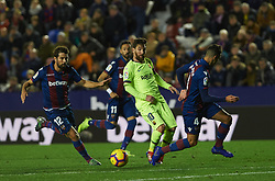 December 16, 2018 - Valencia, Valencia, Spain - Coke Andujar of Levante UD and Leo Messi of FC Barcelona during the La Liga match between Levante UD and FC Barcelona at Ciutat de Valencia Stadium on December 16, 2018 in Valencia, Spain. (Credit Image: © AFP7 via ZUMA Wire)