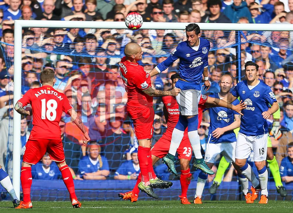 Martin Skrtel of Liverpool and Everton's Ramiro Funes Mori  - Mandatory byline: Matt McNulty/JMP - 07966 386802 - 04/10/2015 - FOOTBALL - Goodison Park - Liverpool, England - Everton  v Liverpool - Barclays Premier League