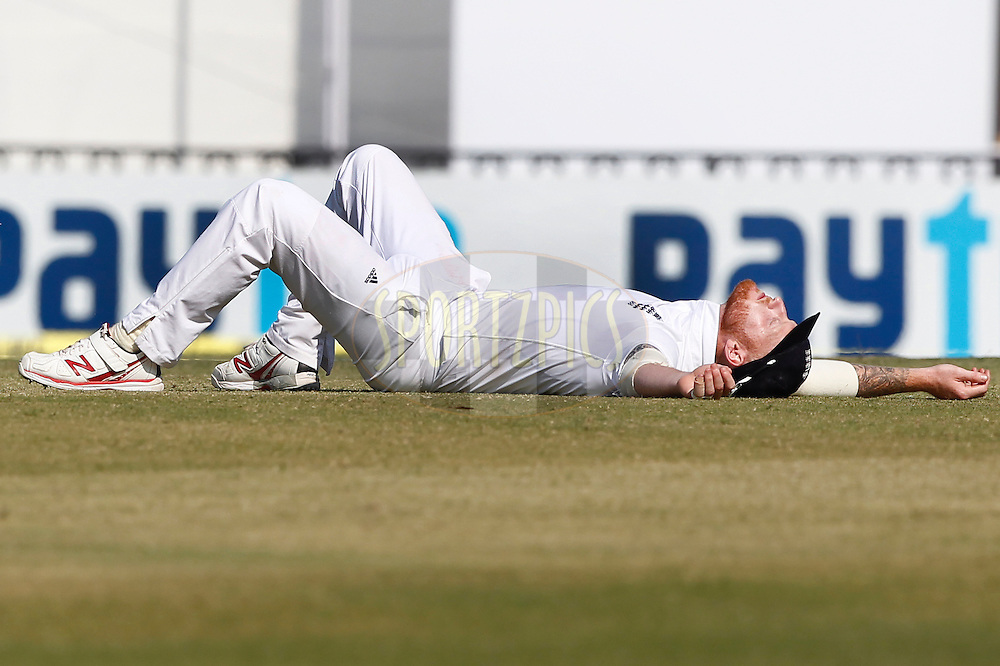Ben Stokes of England reacts during day 3 of the third test match between India and England held at the Punjab Cricket Association IS Bindra Stadium, Mohali on the 28th November 2016.<br /> <br /> Photo by: Deepak Malik/ BCCI/ SPORTZPICS