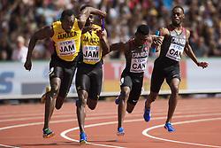 August 12, 2017 - London, STORBRITANNIEN - 170812 Jamaicas Usain Bolt vÅxlar med Micheal Campbell i kvalet pÅ' stafetten 4x100 meter under dag nio av friidrotts-VM den 12 augusti 2017 i London  (Credit Image: © Joel Marklund/Bildbyran via ZUMA Wire)