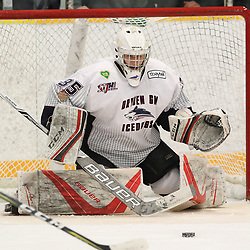 DRYDEN, ON - MAY 2: Landon Pavlisin #35 of the Dryden GM Ice Dogs  makes the save in the first period during Game Four of the Central Canadian Junior Championship during the 2018 Dudley Hewitt Cup on May 2, 2018 at the Dryden Memorial Arena in Dryden, Ontario, Canada. (Photo by Tim Bates/DHC via OJHL Images)