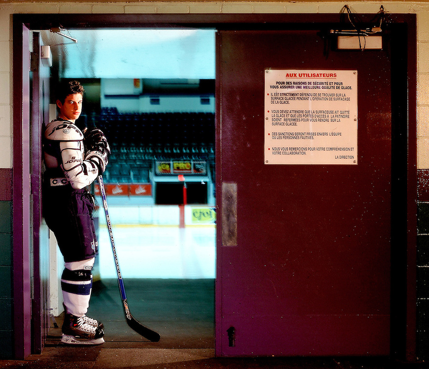 Portrait of Sidney Crosby of the Rimouski Oceanic of the QMJHL. Photograph © Darren Carroll