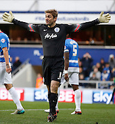 QPR Goalkeeper Robert Green protests againsts the linesman's decision during the Sky Bet Championship match between Queens Park Rangers and Leeds United at the Loftus Road Stadium, London, England on 28 November 2015. Photo by Andy Walter