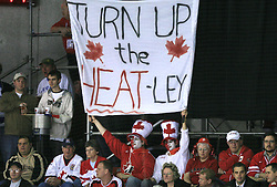 Fans of Heatley at ice-hockey game Canada vs Finland at Qualifying round Group F of IIHF WC 2008 in Halifax, on May 12, 2008 in Metro Center, Halifax, Nova Scotia, Canada. Canada won 6:3. (Photo by Vid Ponikvar / Sportal Images)