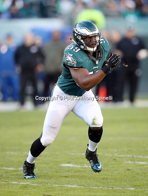 Philadelphia Eagles inside linebacker DeMeco Ryans (59) chases the action during the 2015 week 10 regular season NFL football game against the Miami Dolphins on Sunday, Nov. 15, 2015 in Philadelphia. The Dolphins won the game 20-19. (©Paul Anthony Spinelli)