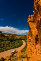 Camper van at Cub Creek, Dinosaur National Monument, Utah USA.
