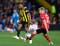 FOOTBALL - 2018 / 2019 Premier League - Watford vs Southampton<br /> <br /> Watford's Christian Kabasele battles for possession with Southampton's Stuart Armstrong, at Vicarage Road.<br /> <br /> COLORSPORT/ASHLEY WESTERN