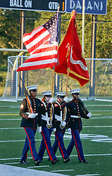 07 May 2016. New Orleans, Louisiana.<br /> NPSL Soccer, Pan American Stadium.<br /> Marines Color Guard before kick off. <br /> New Orleans Jesters v Houston Hurricanes. Jesters win 3-0. <br /> Photo; Charlie Varley/varleypix.com