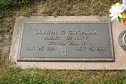 31 August 2017:   Veterans graves in Park Hill Cemetery in eastern McLean County.<br /> <br /> Darwin G Cochran AMM2 US Navy World War II Jan 26 1921 Oct 20 1991