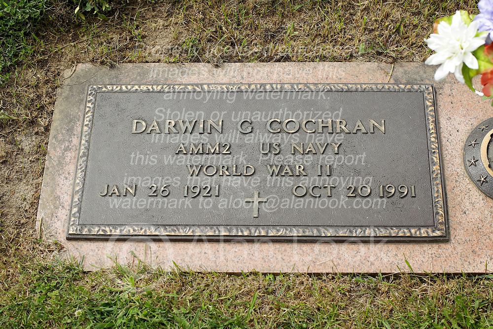 31 August 2017:   Veterans graves in Park Hill Cemetery in eastern McLean County.<br /> <br /> Darwin G Cochran AMM2 US Navy World War II Jan 26 1921 Oct 20 1991