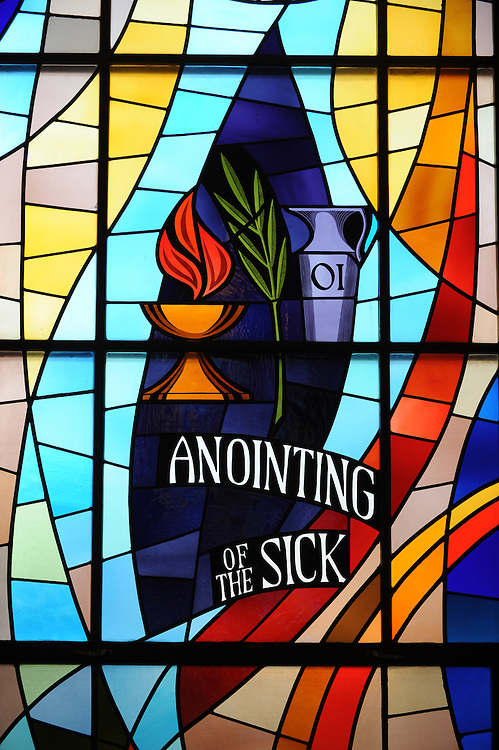 Stained glass image from St. Mary Church, Algoma, Wis. (Photo by Sam Lucero)
