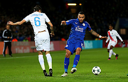 Danny Simpson of Leicester City  challenges Claudemir of Club Brugge - Mandatory by-line: Matt McNulty/JMP - 22/11/2016 - FOOTBALL - King Power Stadium - Leicester, England - Leicester City v Club Brugge - UEFA Champions League