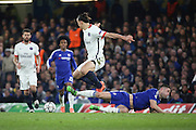 Chelsea defender Gary Cahill (24) tackling Paris Saint Germain striker Zlatan Ibrahimovic (10) during the Champions League match between Chelsea and Paris Saint-Germain at Stamford Bridge, London, England on 9 March 2016. Photo by Matthew Redman.