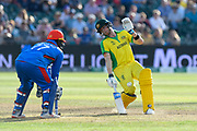 Steve Smith of Australia is nearly hit by the ball as it is thrown at the stumps during the ICC Cricket World Cup 2019 match between Afghanistan and Australia at the Bristol County Ground, Bristol, United Kingdom on 1 June 2019.