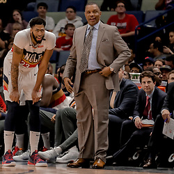Jan 7, 2019; New Orleans, LA, USA; New Orleans Pelicans forward Anthony Davis (23) and head coach Alvin Gentry talk during the fourth quarter against the Memphis Grizzlies at the Smoothie King Center. Mandatory Credit: Derick E. Hingle-USA TODAY Sports