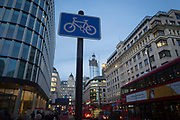 A cycling signpost at the northern end of London Bridge during the evening rush-hour in the City of London, the capital's financial district, on 8th November 2018, in London, England.