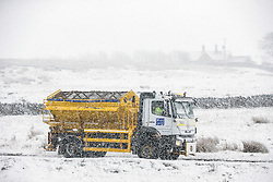 © Licensed to London News Pictures. 02/03/2016. Ingleton UK. Gritters took to the roads around Ingleton as drivers faced treacherous conditions on the roads in the Yorkshire Dales this morning after last night's heavy snow fall.  Photo credit: Andrew McCaren/LNP