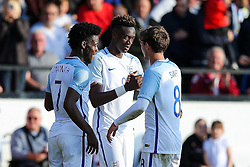 Tammy Abraham of England U21 celebrates with Josh Onomah and John Swift after he scores a goal to make it 5-0 - Rogan Thomson/JMP - 11/10/2016 - FOOTBALL - Bescot Stadium - Walsall, England - England U21 v Bosnia and Herzegovina - UEFA European Under 21 Championship Qualifying.