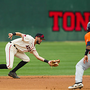 15 April 2018: San Diego State infielder David Hensley (22) catches a line drive for the second out of the first inning and doubles up the runner at second to end the inning stranding runners. The San Diego State baseball team closed out the weekend series against Cal State Fullerton with a 9-6 win at Tony Gwynn Stadium. <br /> More game action at sdsuaztecphotos.com