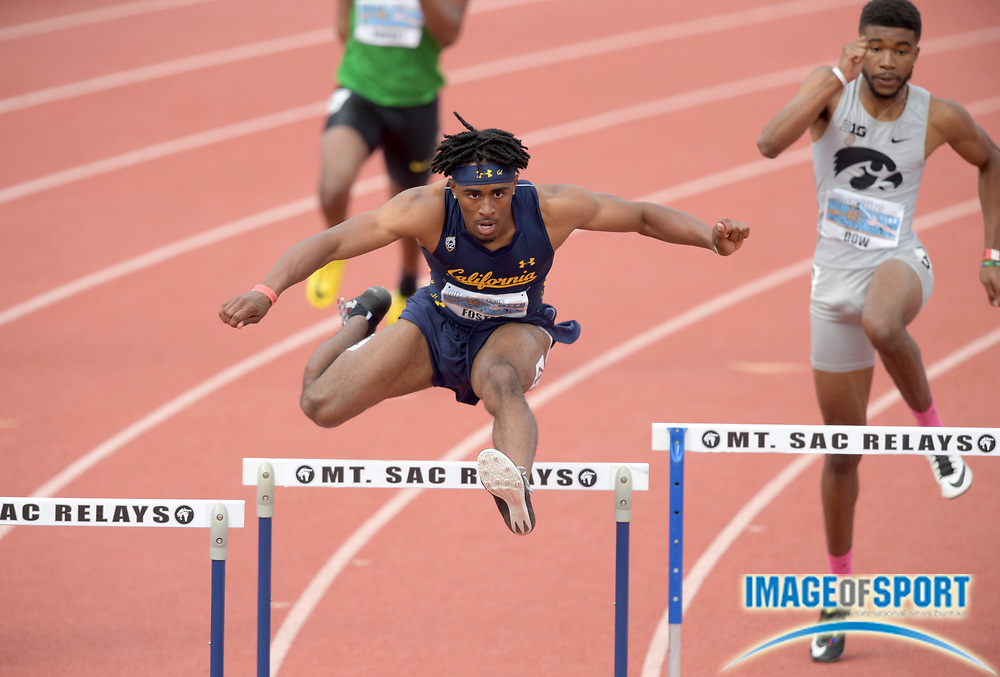 Apr 19, 2019; Torrance, CA, USA; Jasher Foster of California wins the 400m hurdles in 51.31 during the 61st Mt. San Antonio College Relays at El Camino College.